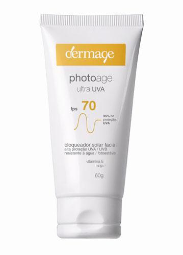O Photoage Ultra UVA FPS 70, da Dermage, promete alta proteção contra os efeitos cumulativos dos raios ultravioleta A. Além disso, a marca garante que o produto hidrata e previne linhas finas. Preço sugerido: R$ 71. SAC: 0800-0241064