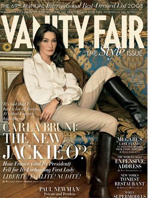 """A edição da revista """"Vanity Fair"""" com Carla Bruni-Sarkozy - AP"""