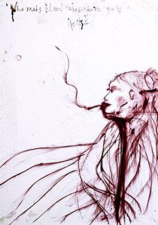 O auto-retrato feito pela modelo Kate Moss com batom - EFE
