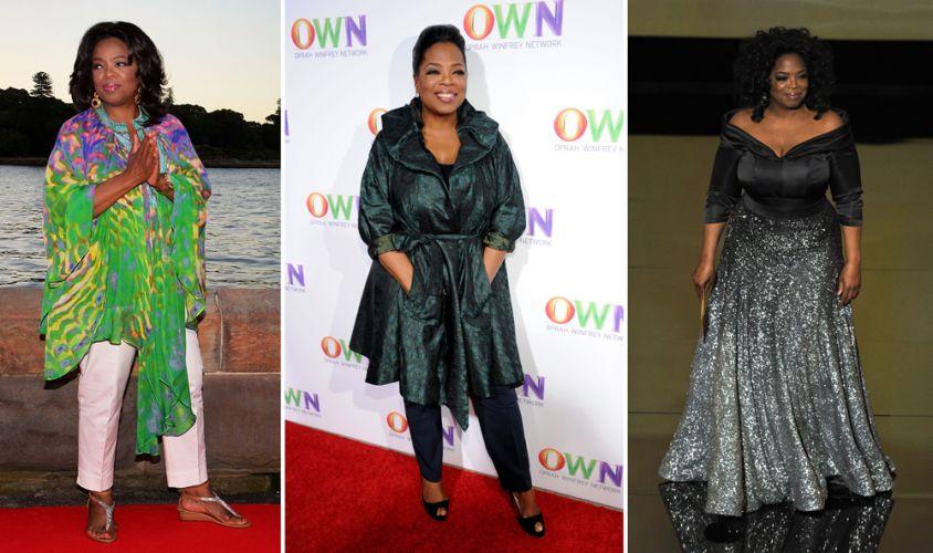 A famosa apresentadora norte-americana Oprah Winfrey não deixa as cores de fora do seu guarda-roupa e possui peças em diferentes estilos e modelagens