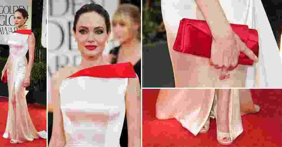 Angelina Jolie chamou a atenção no tapete vermelho do Globo de Ouro ao escolher um vestido Atelier Versace para a ocasião. O modelo branco com detalhe vermelho no decote de um ombro só era bem ajustado com drapeados na cintura e tinha uma fenda frontal profunda. Sapatos Versace e clutch Christian Louboutin complementaram o visual da atriz (15/01/2012) - undefined