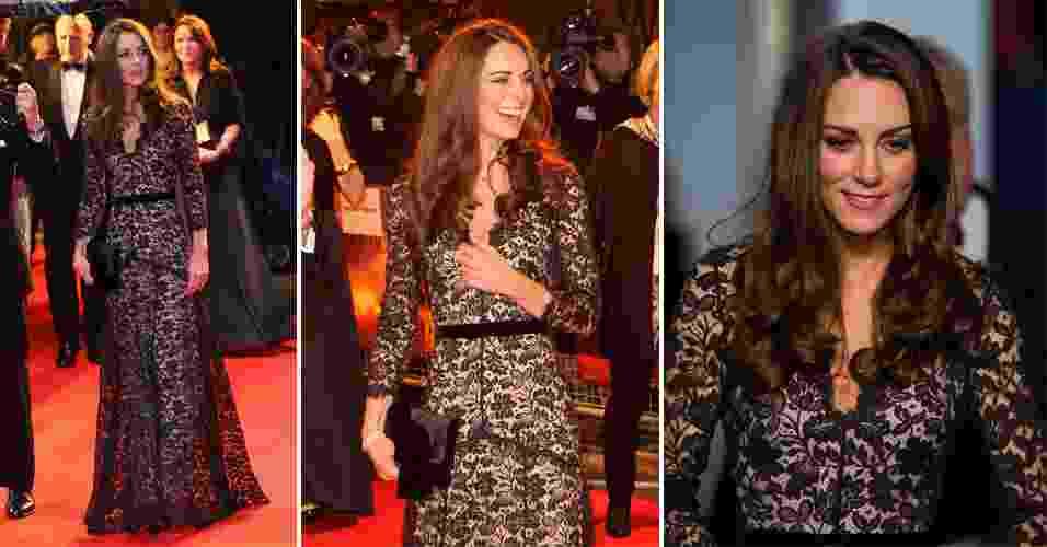 """A duquesa Catherine Middleton foi à estreia do filme """"Cavalo de Guerra"""" em um dia chuvoso em Londres usando um vestido de renda preta com fundo nude da linha premium da marca Temperley London, uma de suas favoritas (08/01/2012) - undefined"""