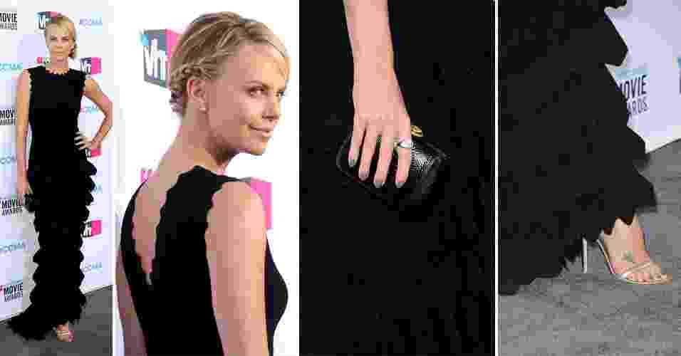 Charlize Theron escolheu um vestido com a silhueta recorrente no trabalho de Azzedine Alaïa - corpo baixo ajustado e saia em camadas - para ir ao Critic's Choice Awards este mês em Los Angeles. O modelo preto foi usado com anel Bvlgari e sandálias douradas Giambattista Valli (12/01/2012) - undefined