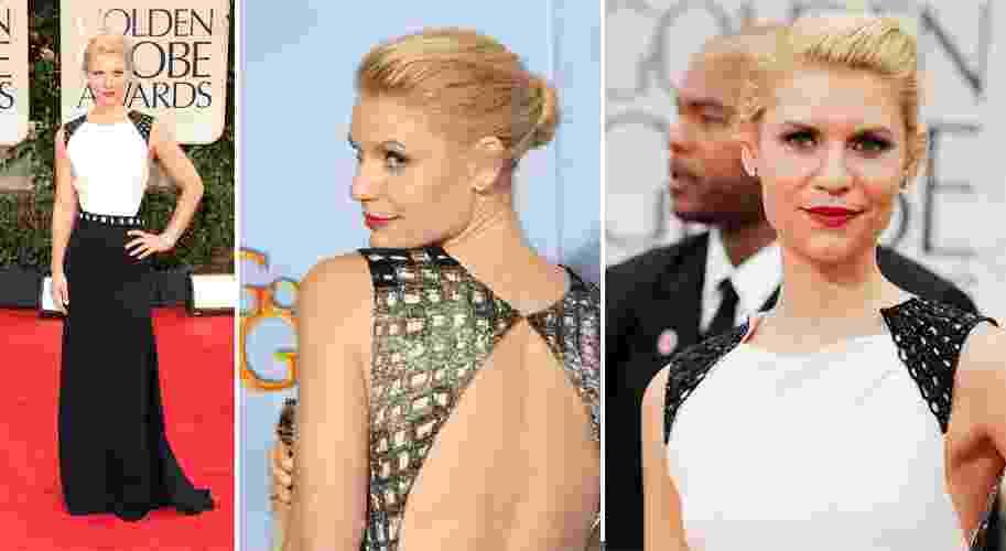 Claire Danes optou por um vestido bicolor J.Mendel com decote nas costas e bordados nos ombros e nas costas para ir à cerimônia de entrega do prêmio Globo de Ouro (15/01/2012) - undefined