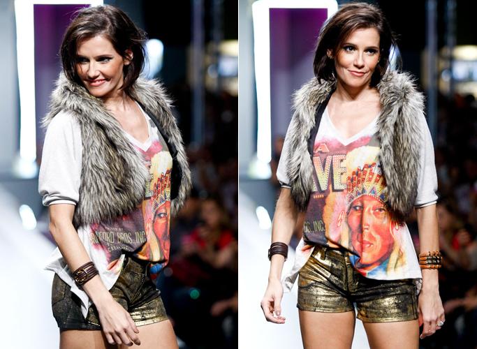 A atriz Deborah Secco posa com microshorts na abertura do último dia de Mega Polo Moda, no Brás (29/02/2012)