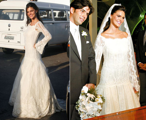 Daniela Sarahyba, de vestido Valentino rendado com manga comprida, em seu casamento com o empresário Wolff Klabin, em 2007