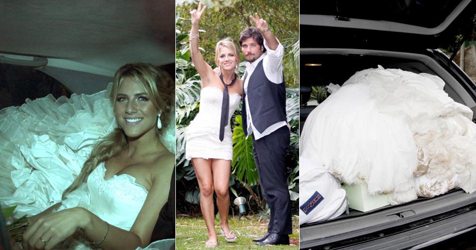 Giovanna Ewbank em seu vestido tomara-que-caia com saia volumosa do estilista Samuel Cirnansck, no seu casamento com o ator Bruno Gagliasso, em 2010. Durante a festa, a atriz retirou a saia, que ocupou todo o porta-malas do carro que levou o casal para a lua-de-mel