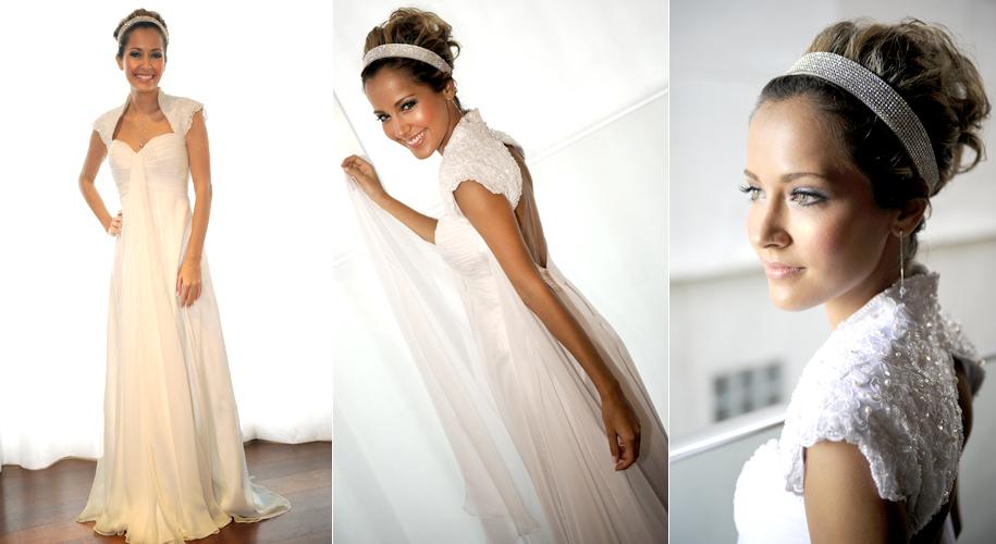 A atriz Maytê Piragibe optou por vestido com ombro estruturado assinado por Bruno Otaviano da Mariá Noivas para seu casamento com o ator Marlos Cruz, em abril de 2010