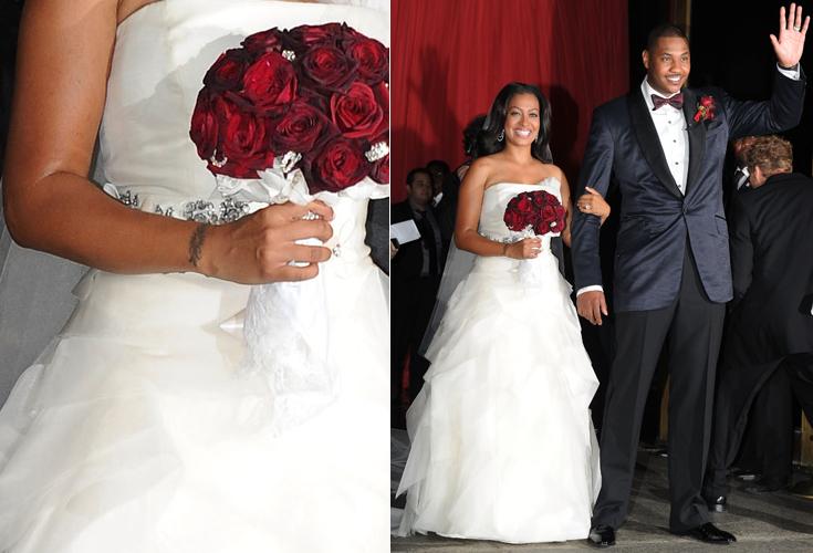 A ex-VJ da MTV norte-americana La La Vasquez casou-se com o jogador da NBA Carmelo Anthony em um tomara-que-caia criado pela estilista Vera Wang, em Nova York. A peça trazia flores prateadas na cintura e saia em diversas camadas assimétricas (10/07/2010)
