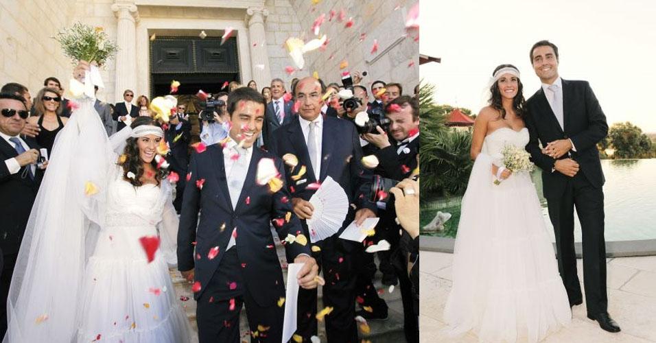 O ator Ricardo Pereira e a pesquisadora de arte Francisca Pinto Ribeiro casaram-se na cidade de Elvas, em Portugal. O tomara-que-caia da noiva leva a assinatura da dupla de estilistas portugueses Manuel Alves & José Manuel Gonçalves (17/07/10)