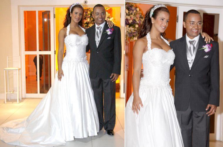 A estudante Priscila Grasso, grávida de um menino, usou um vestido de renda francesa bordado com cristais Swarovski, assinado pelo estilista Saulo Henriques, em seu casamento com o cantor Dudu Nobre. O noivo vestiu Armani (12/11/2010)