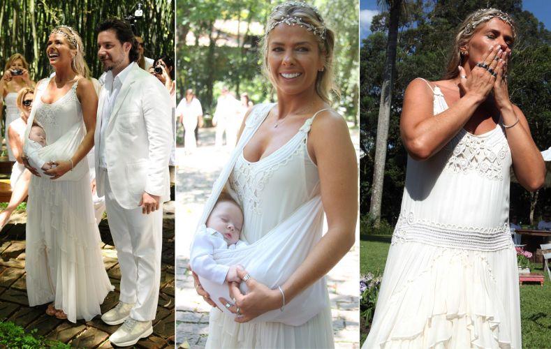 Adriane Galisteu escolheu um vestido de inspiração