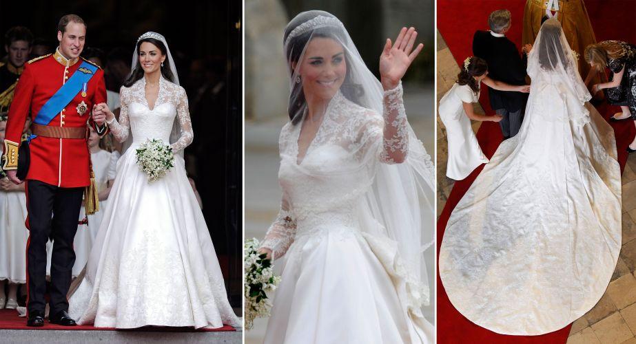 Kate Middleton, agora duquesa Catherine, casou com o príncipe William em uma cerimônia digna de contos de fadas. O vestido, com corpo estruturado, mangas longas de renda e saia de gazar de cetim com aplicações de rendas assinado pela estilista Sarah Burton, sucessora de Alexander McQueen (29/04/2011)