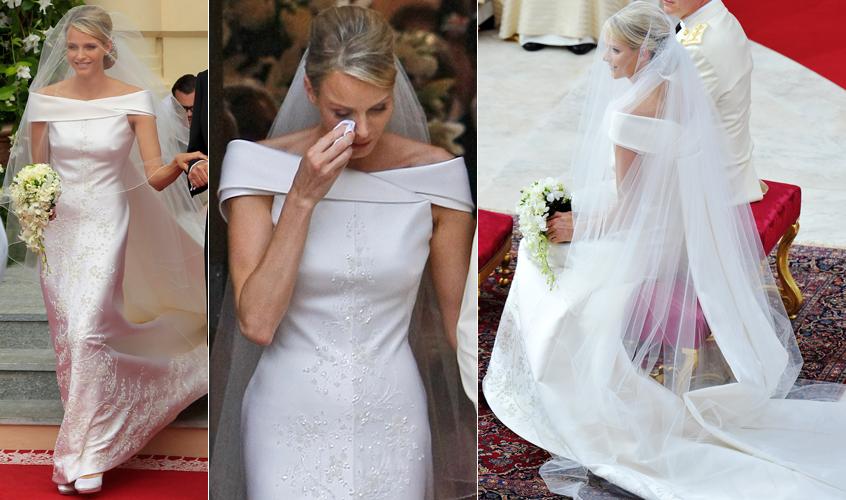 Na cerimônia religiosa de seu casamento com o príncipe Albert, de Mônaco, a ex-nadadora sul-africana Charlene Wittstock usou um vestido Giorgio Armani com longa cauda e aplicações de brilho (02/07/2011)