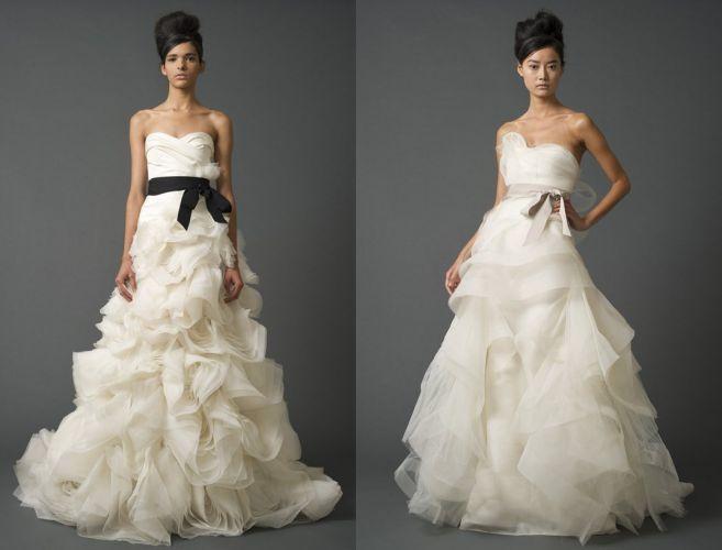 Vestidos da estilista Vera Wang, que estão disponíveis da WhiteHall em sincronia com o mundo todo