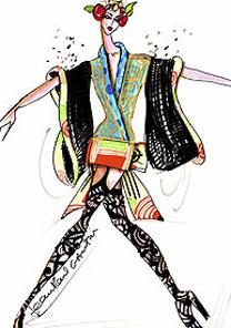 Croqui de um dos oito vestidos que serão usados por Kylie Minogue - EFE