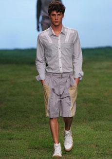 As bermudas masculinas desfiladas pela Redley ganharam recortes aerodinâmicos - Alexandre Schneider/UOL
