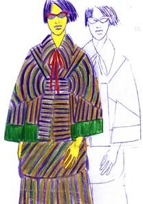 Croqui da coleção de Ronaldo Fraga para o inverno 2007, inspirada na China - Divulgação