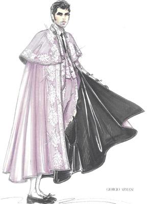 Esboço do traje que Giorgio Armani criou para o toureiro