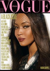 """Naomi Campbell é uma das quatro top negras que estampam as diferentes capas da """"Vogue Itália"""" - Reprodução"""